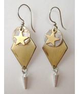 Star Circle Diamond Drop Earrings Mixed Metal B... - $33.00