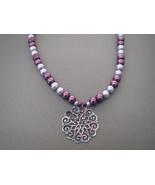 Burgundy  Lavender Glass Pearls Necklace Pendan... - $23.50