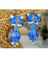 Chinese Cat Earrings Dangles Cobalt Blue Enamel... - $18.95