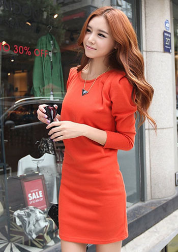 Tight and fit long sleeves shift dress - orange red