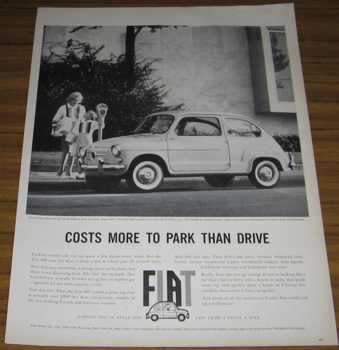 1960 AD~THE FIAT 600~PRICED AT $1398