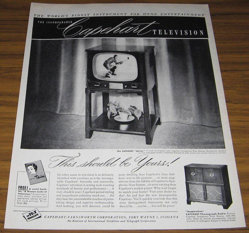 1950 AD~CAPEHEART SPINET TELEVISION~HOCKEY PLAYER ON TV