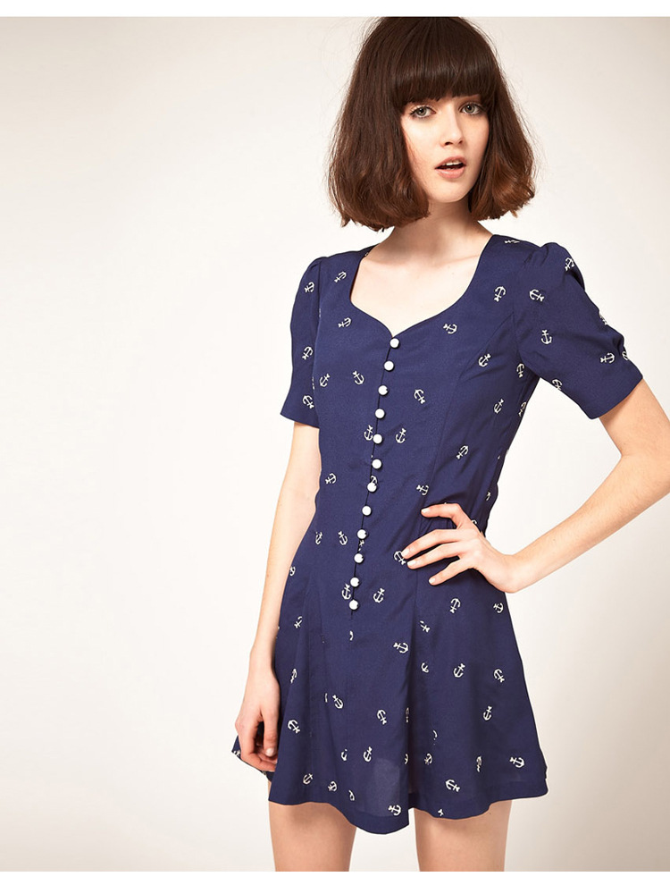 2012new summer Navy Sea spear embroidered waist dress8344asos SIZE M