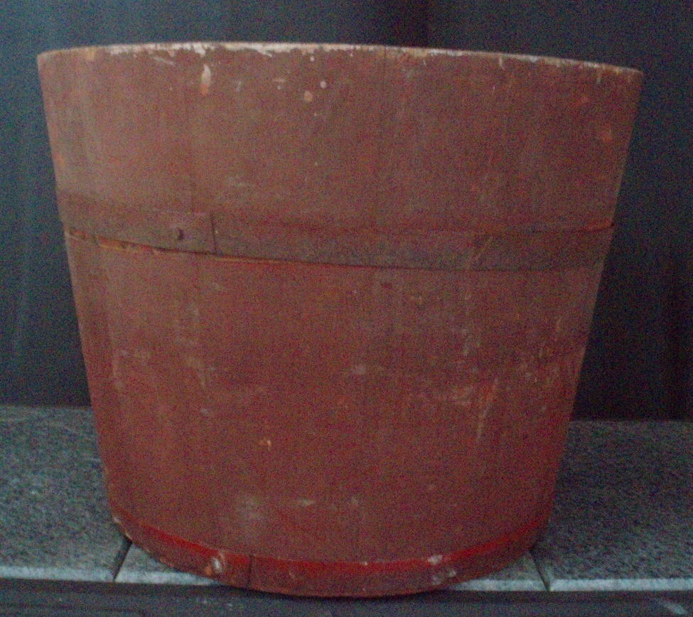 antique banded bucket maple sugar sap pail wood