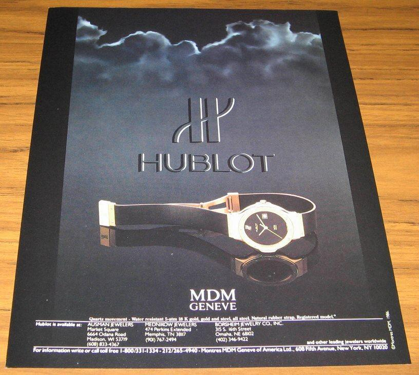 1986 Ad~Hublot Mdm Geneve Watches~18 K Gold Watch