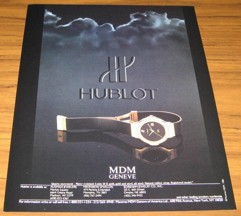 1986 Ad~Hublot Mdm Geneve Watches~18 K Gold Watch