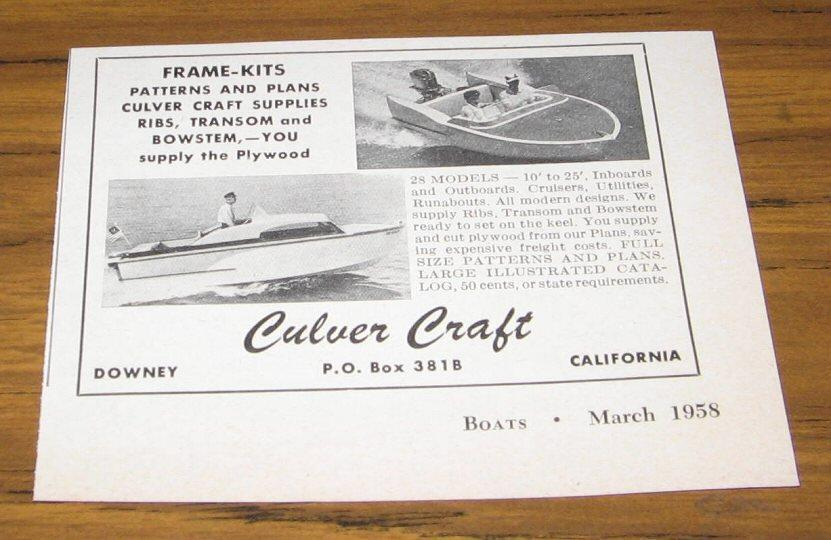 1958 AD~CULVER CRAFT KIT BOATS~28 MODELS