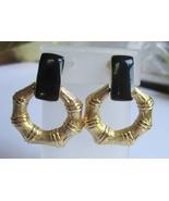Big Black Enamel & Gold Tone Bamboo Earrings, b... - $25.00