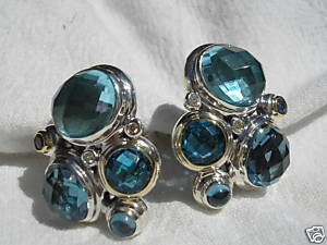 David Yurman Blue Topaz Diamond Mosaic EARRINGS SS