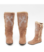 Brown Camel Cross Rhinestone Boot - $65.97