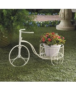 White Tricycle Plant Stand Flower Pot Holder - $22.00