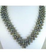 Hand Strung Bead Necklace of Labradorite Sphere... - $202.56