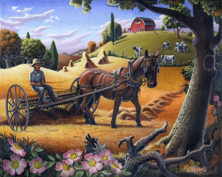Rural Country Farm Life Timeless Americana Fairy Tale Landscape Folk Art CURLEE