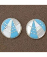 Inlaid Turquoise and Mother of Pearl Sterling S... - $108.07