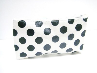 Cosmetic  on Bag Cream With Black Polka Dots Print With Mirror   Cosmetic Bags