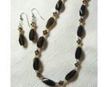 Buy Smoky Quartz and Swarovski Crystal Necklace, set, handmade