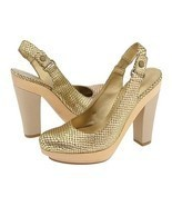 Nine West Popgoes Chunky Platform Shoes Gold Br... - $31.00