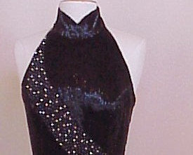 Style C97B - Black Halter Dress / Pageant Gown / Heavy Liquid beaded evening wea