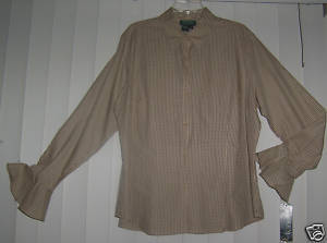 Ralph Lauren Womens Ladies Beige Black Top Shirt Blouse 2X