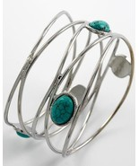 New Wired oval TURQUOISE bangle bracelet cut out SOUTHWEST silver tone design