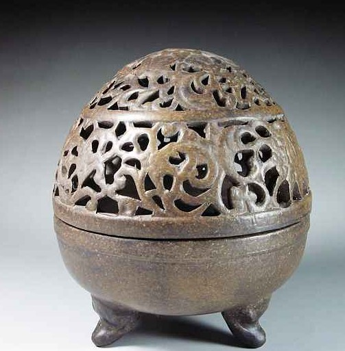 China violet arenaceous hollow out dragon egg smoked censer censer