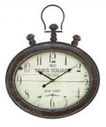 Benzara Metal Wall Clock in Oval Shape Times S... - $64.97
