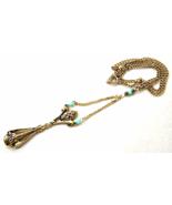 Vintage Signed Art Necklace Turquoise stone Gol... - $22.00