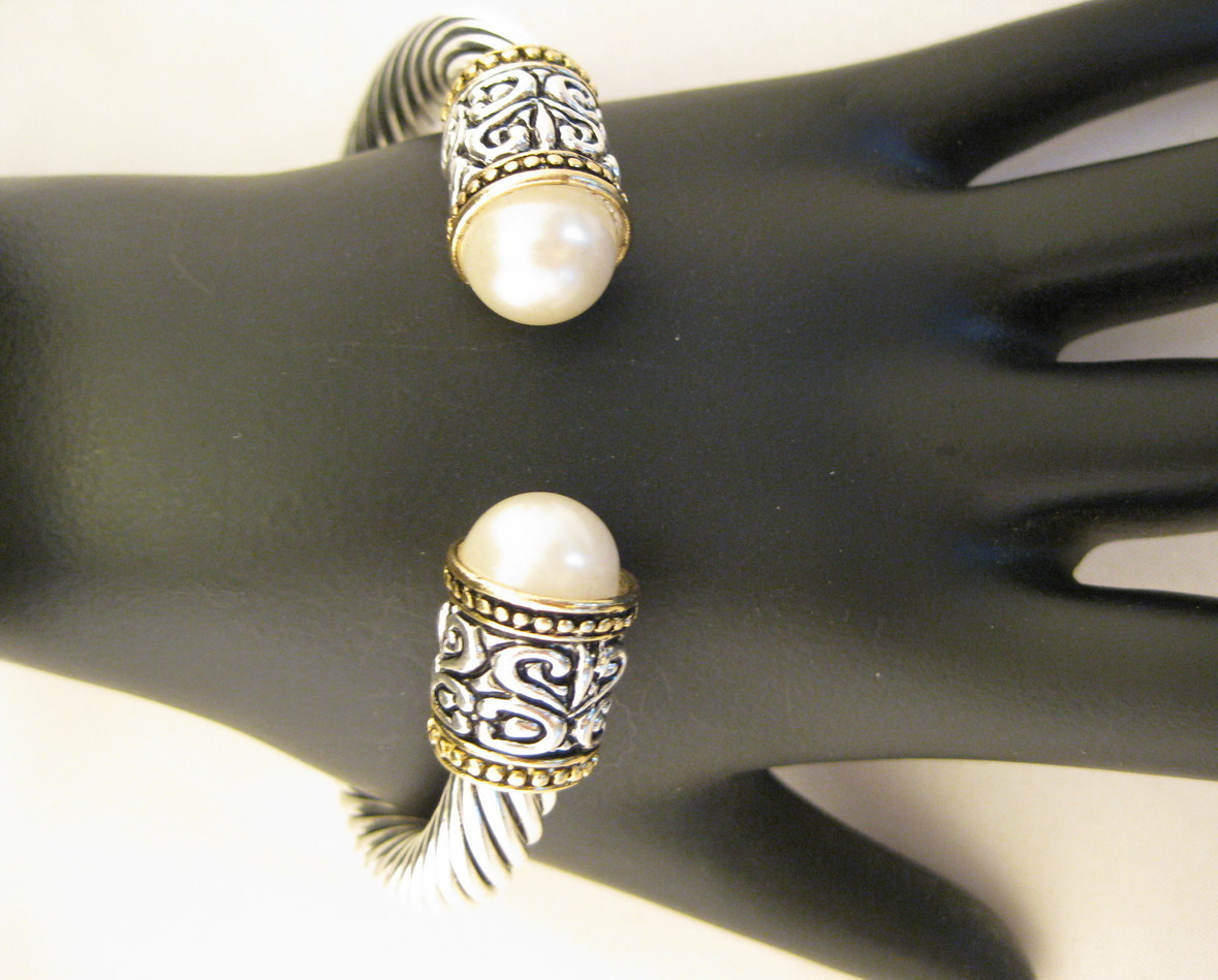 Designer Inspired Cable Bracelet With Faux Pearls