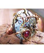 Steampunk Ruby Jeweled  Recycled Watch Movemen... - $44.00