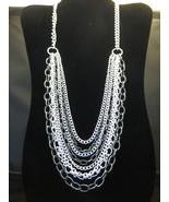 Multi-Strand Silvertone & Pewter Color Necklace... - $24.00