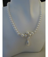 Silvertone Synthetic Pearl Necklace & Clip Earr... - $14.00