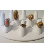 Lot of Five Vintage Avon Rings - Coral, Rhinest... - $30.00
