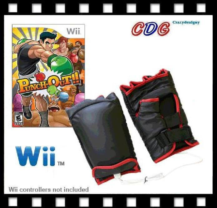 Punch Out wii Game + Wii Boxing fight Gloves ~S