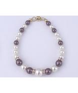Swarovski Crystal Bracelet Pearl Rondelles Purp... - $22.99