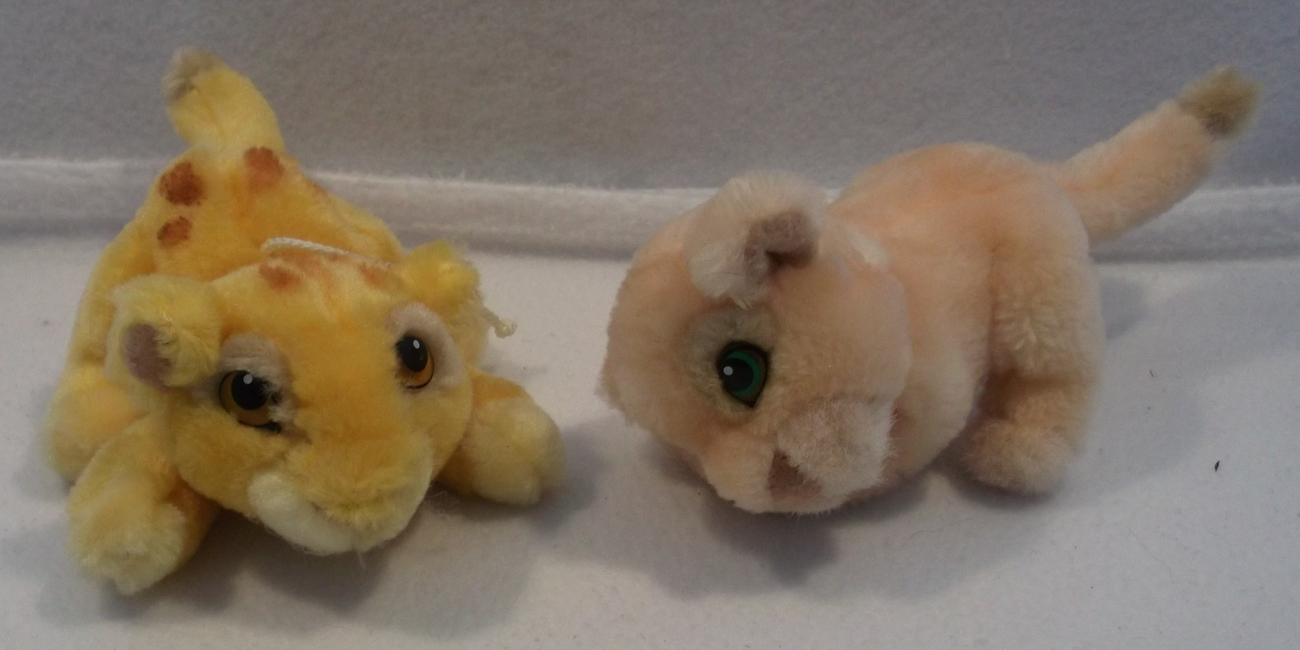 "Lot of 2 Walt Disney Lion King SIMBA and NALA mini 8"" plush toys"