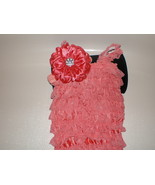 BABY GIRL SMALL CORAL COLORED  LACY PETTI  ROMP... - $16.00