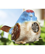 Chubby Blue Bird W/ Crackle Finish Ceramic Hang... - $14.95