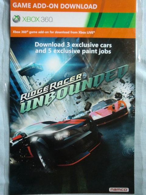 "Ridge Racer: Unbounded ""3 exclusive cars + 5 paint jobs"" xbox 360 game DLC code"