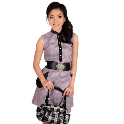 Sophistix - Minnie Purple Checkered Sleeveless Dress : Sizes S M L XL
