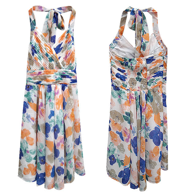 Lily Floral Print Cross Over Pleat Maxi Dress Size S & M