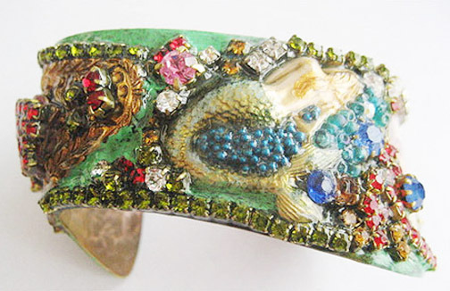 CONEY ISLAND New York TILLIE Funny Face MERMAID Bracelet RHINESTONE JEWELED OOAK