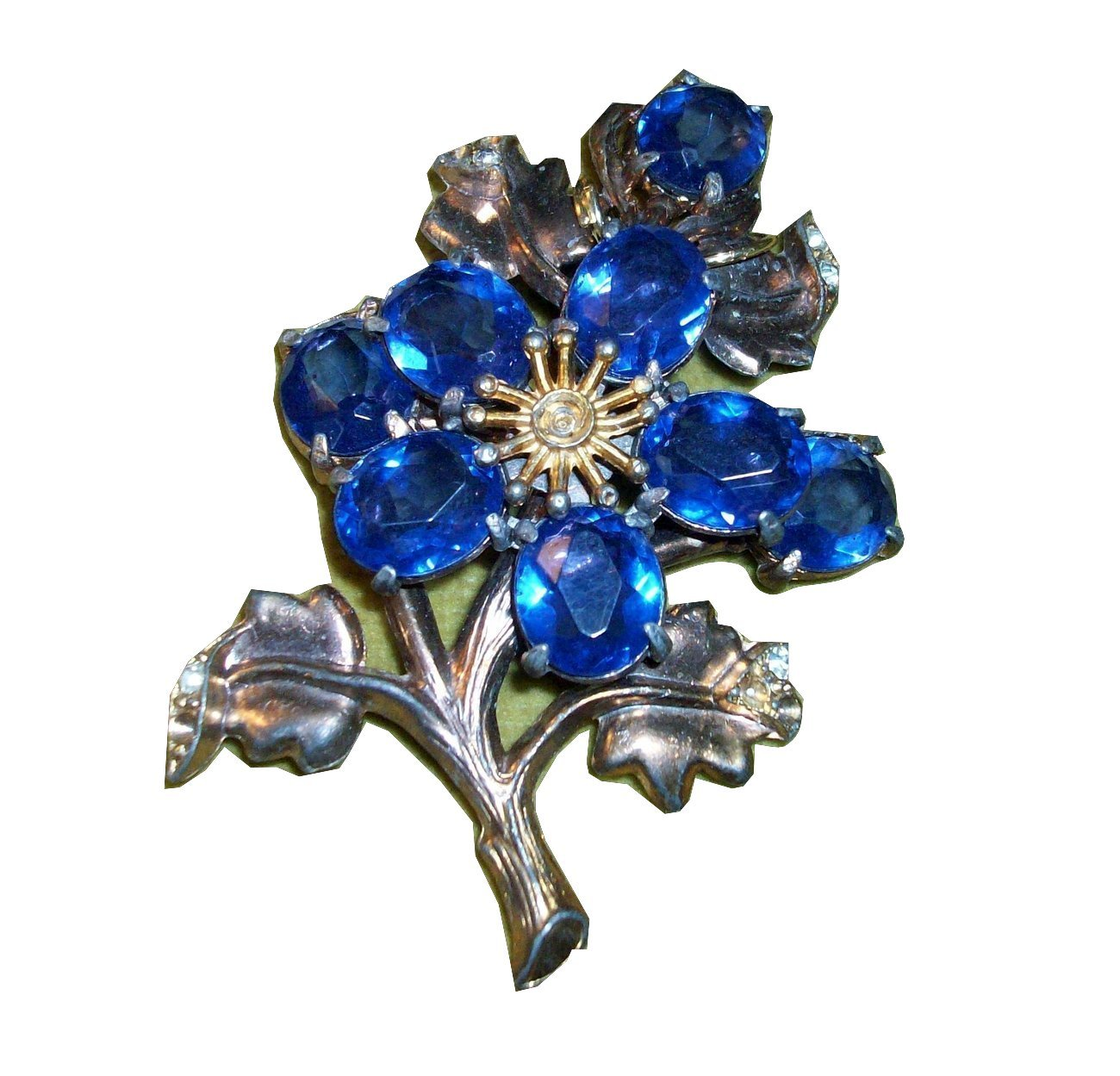 Vintage Clear & Blue Rhinestone Huge Floral Pin