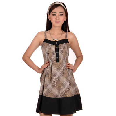Sophistix - Ola Brown Printed Sleeveless Dress : Sizes S M L XL