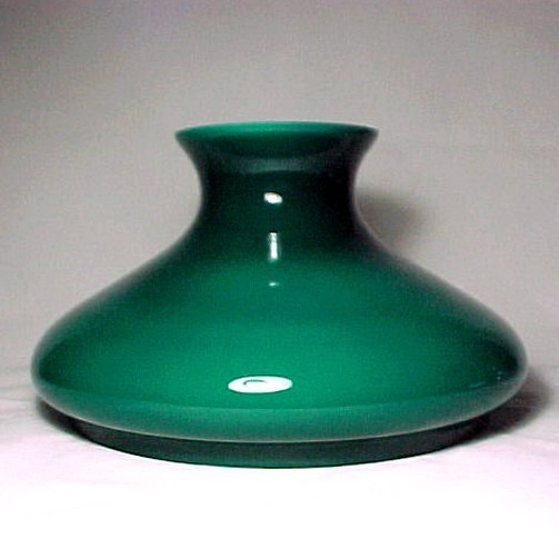 "Green Cased Glass 10"" Kerosene Oil Lamp Student Shade Tam-O-Shanter fits Aladdin"