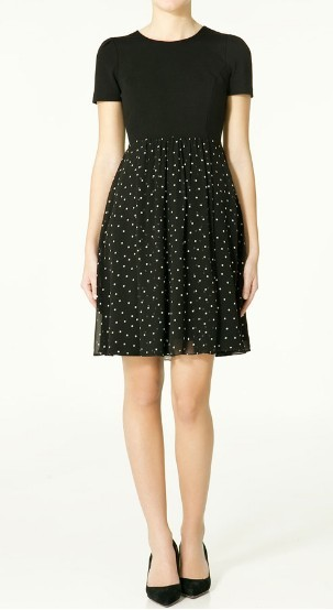 Brand New: Zara Polka Dot Dress in Black, size S