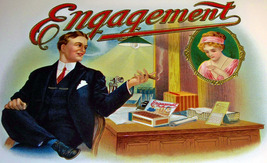 Engagement Embossed Inner Cigar Label, 1920's - $6.99