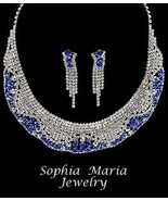 Mother of the bride sapphire blue crystal eveni... - $26.59