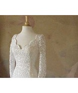 #B33 - Solid Lace Bridal Gowns - Long Sleeve De... - $725.63