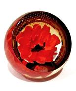 Caithness Red Poppy Studio Glass Paperweight U9... - $69.00