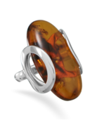 Sterling Silver Ring with Oval Baltic Amber - $219.99